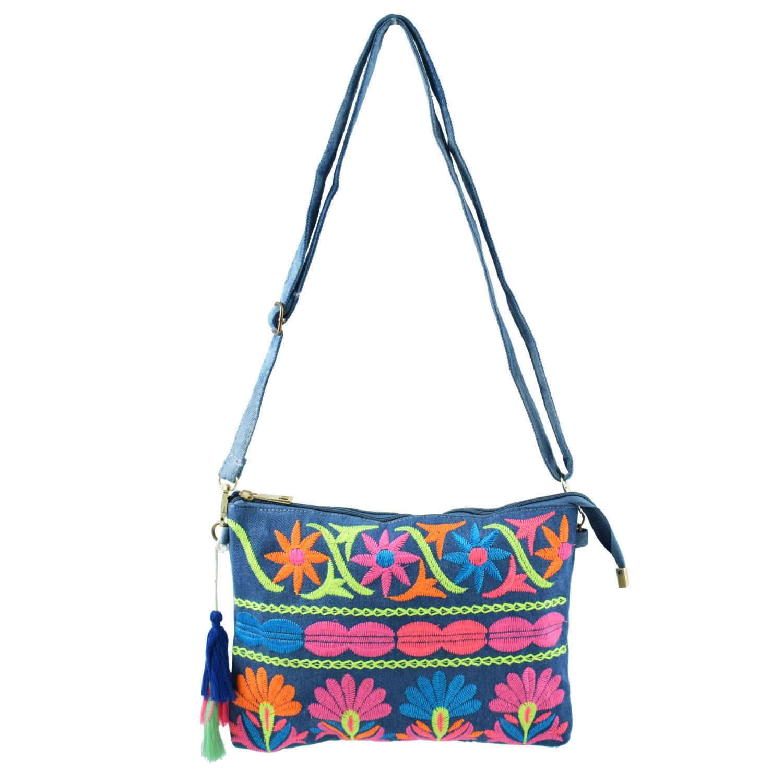 437cd3429d Χειροποίητη τσάντα χιαστί με φουντίτσα και πολύχρωμες λεπτομέρειες - Bags    Hats